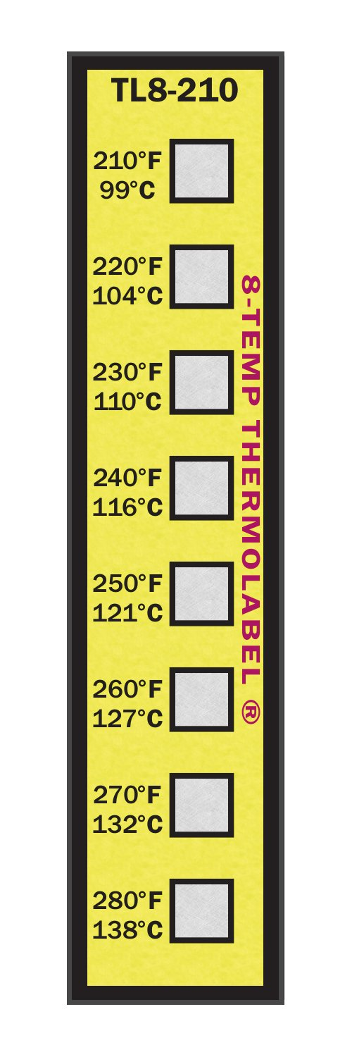 8-Temp Thermolabel 210-280°F Temperature Label Pack of 16 Labels