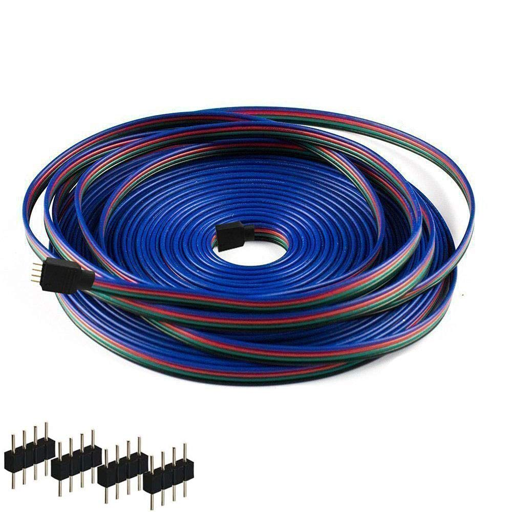 Kabenjee SMD5050/3528/2835 RGB LED Light Strips 4pin Extension Cable Connector,20m/65.6ft RGB LED Tape Light Layout Extension Cable with Solderless Plugs