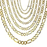 Joule Shop 14K Solid Yellow Gold 5mm Figaro Chain with Lobster Clasp, 18 to 30 inches, from