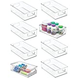"mDesign Stackable Plastic Storage Organizer Container Bin with Handles for Bathroom - Holds Vitamins, Pills, Supplements, Essential Oils, Medical Supplies, First Aid Supplies - 3"" High, 8 Pack - Clear"