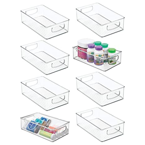 Amazon.com: mDesign - Contenedor apilable de plástico para ...