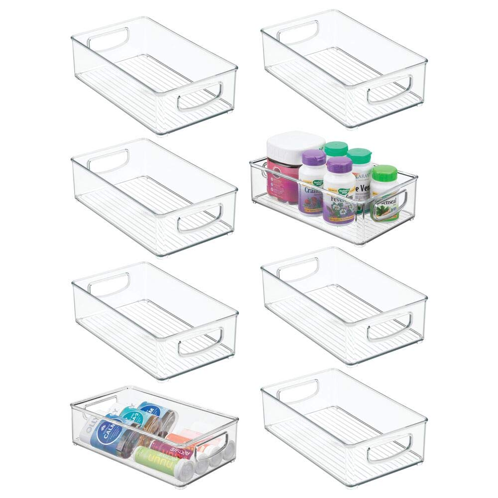 mDesign Stackable Plastic Storage Organizer Container Bin with Handles for Bathroom - Holds Vitamins, Pills, Supplements, Essential Oils, Medical Supplies, First Aid Supplies - 3'' High, 8 Pack - Clear