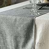 Ling's moment 14 x 48 Inch Gray Burlap Linen Table Runner for Wedding Bridal Shower Baby Shower Party Decor, Thanksgiving, Christmas, Engagement, Fall Decorations