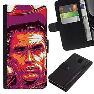LASTONE PHONE CASE / Lujo Billetera de Cuero Caso del tirón Titular de la tarjeta Flip Carcasa Funda para Samsung Galaxy Note 3 III N9000 N9002 N9005 / Cowboy Poster Purple Wild West