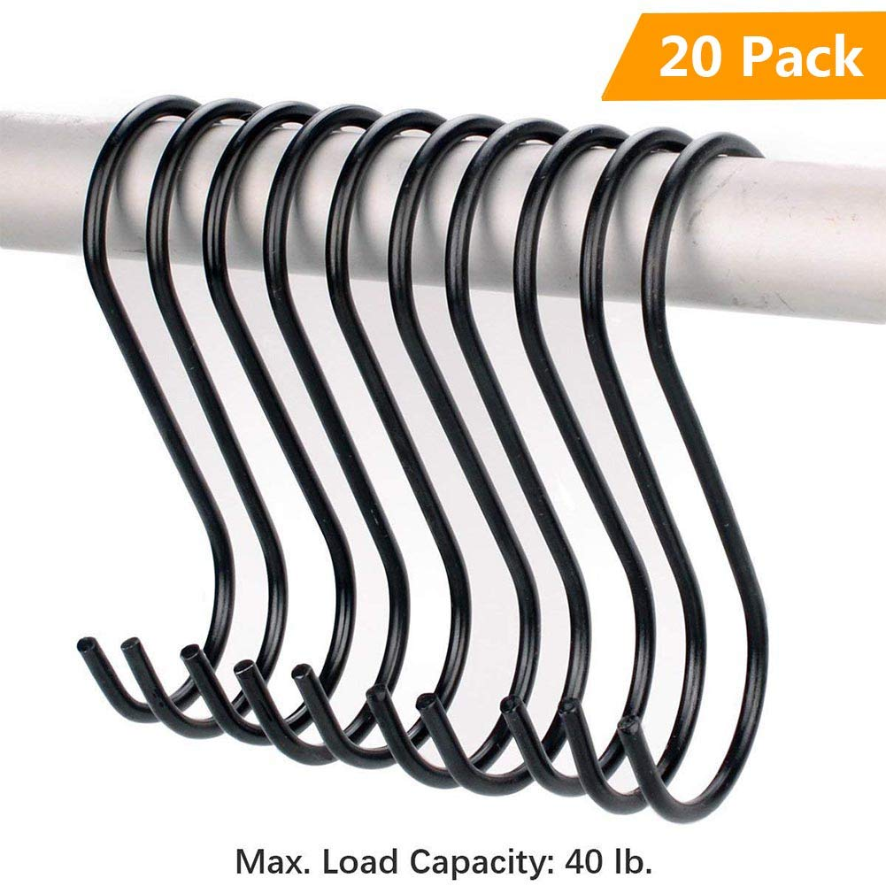 Heavy Duty S Shaped Hooks Rustproof Black Finish Steel Hangers Hanging Hooks for Kitchenware Pots Utensils Plants Wardrobe Gardening Tools Clothes 20 PCS