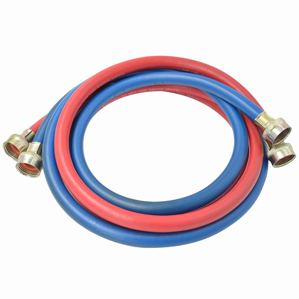 """TT FLEX UPC approved red and blue rubber washing machine fill connector inlet hose,3/4""""FHT3/4""""FHT,6FT"""