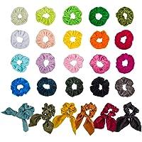 26 cintas para el cabello elásticas para el cabello de una variedad de colores de PCS top 20 colores de las bandas para el cabello elásticas de terciopelo y 6 colores para el cabello de gasa Scrunchies lazos de chiffon con cola de caballo, perfectos para mujeres y niñas