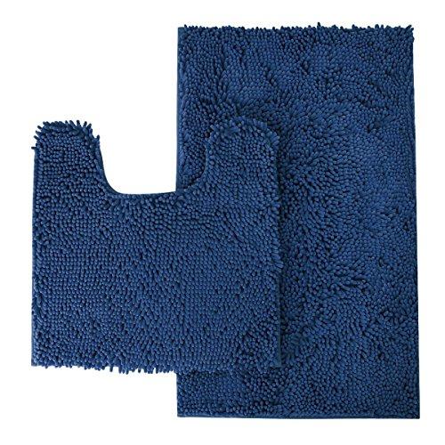 MAYSHINE Bathroom Rug Toilet Sets and Shaggy Non Slip Machine Washable Soft Microfiber Bath Contour mat (Navy Blue,32