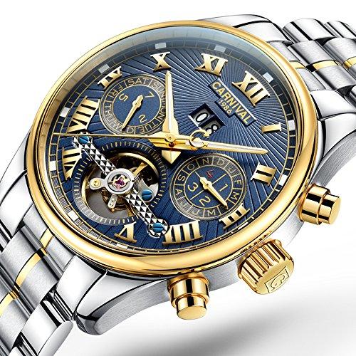 CARNIVAL Retro Roman Applique Complications Calendar Analog Automatic Mechanical Movement Watches for Men (Gold Blue)