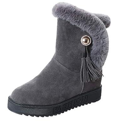 ❤ Botas de Nieve para Mujeres de Felpa, Otoño Invierno Mujer Gamuza de Felpa Zapatos Planos con Punta Redonda de Borla Mantenga Caliente Botas de Nieve ...