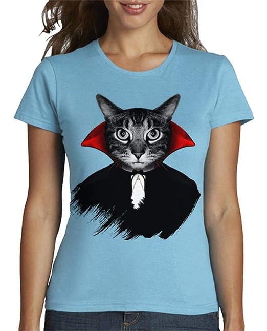latostadora - Camiseta Gato Vampiro para Mujer