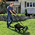 Sun Joe MJ502M Manual Reel Mower w/Grass Catcher | 20 inch 14 ✅ REEL MOWER: Powered with a push, this manual mower's 5 sharpened steel blades cut a crisp 20-inch path in a single pass - no gas, oil or electricity required ✅ ADJUSTABLE: 9 position manual height adjustment for cutting heights up to 2.44 in. deep ✅ RAZOREEL: 5 durable steel blades swiftly slice through grass for precise cutting