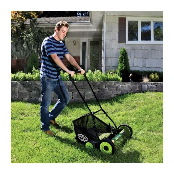 Sun Joe MJ502M Manual Reel Mower w/Grass Catcher | 20 inch 7 ✅ REEL MOWER: Powered with a push, this manual mower's 5 sharpened steel blades cut a crisp 20-inch path in a single pass - no gas, oil or electricity required ✅ ADJUSTABLE: 9 position manual height adjustment for cutting heights up to 2.44 in. deep ✅ RAZOREEL: 5 durable steel blades swiftly slice through grass for precise cutting