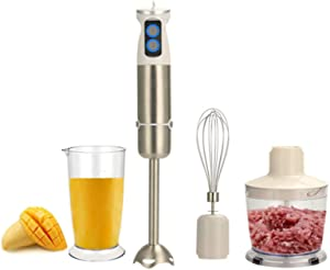 Immersion Hand Blender, 5-in-1 600 Watt 6-Speed Cordless Stick Blender, Multiquick, No-overheating, BPA-Free, Stainless Steel Blades, Includes 500ml Food Grinder, 600ml Container, Egg Whisk, White