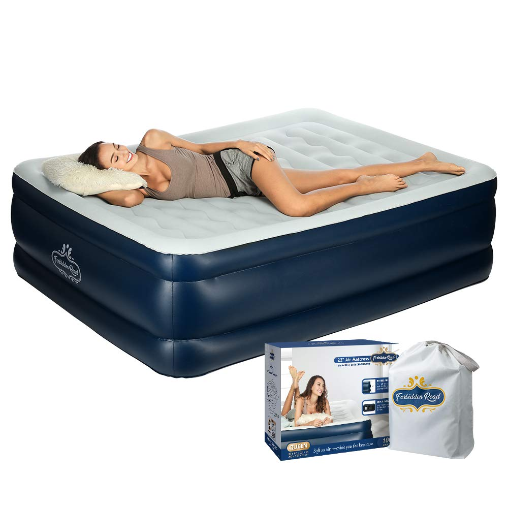 "Forbidden Road Queen Size Air Mattress, Portable Inflatable Double Airbed with Built-in Electric Pump, Durable Firm Blow Up Raised Bed with Storage Bag Easy Setup 79.9""59.84""22"")"