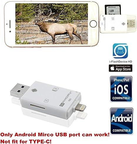 Cámara de caza tarjeta SD lector viewer- tuop 3 en 1 Micro SD/TF/Lector de tarjetas SD para iPhone/iPad/PC/Android y ...