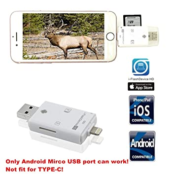 Trail Camera SD Card Reader Viewer- TUOP 3 in 1 Micro SD / TF / SD Card Reader for iPhone / iPad / PC / Android and Samsung Other Smartphone tablet ...