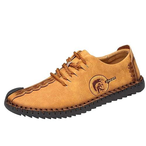 Tenthree Cuero Zapatos Hombre - Mocasines Oxfords Zapatillas Zapato Negocio Vestir Espacio de Trabajo Cuero Partido Casuales Bajos de Bandas Cómodamente: ...