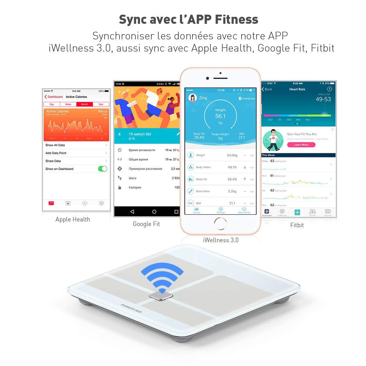 Poweradd Pèse Personne Impédancemètre, Balance Connecté Bluetooth Analyse de la Composition Corporelle de Haute Précision Mesure du Poids, Graisse, Masse Musculaire et Osseuse, Eau, BMI, BMR Pour IOS et Android,etc.