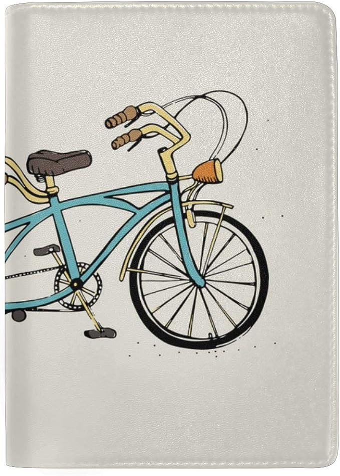 Bicicleta con Canasta De Bloqueo de Flores Imprimir Estuche para Pasaportes Funda de Viaje Equipaje Pasaporte Monedero Porta Tarjetas Hecho con Cuero para Hombres Mujeres Niños Familia: Amazon.es: Equipaje
