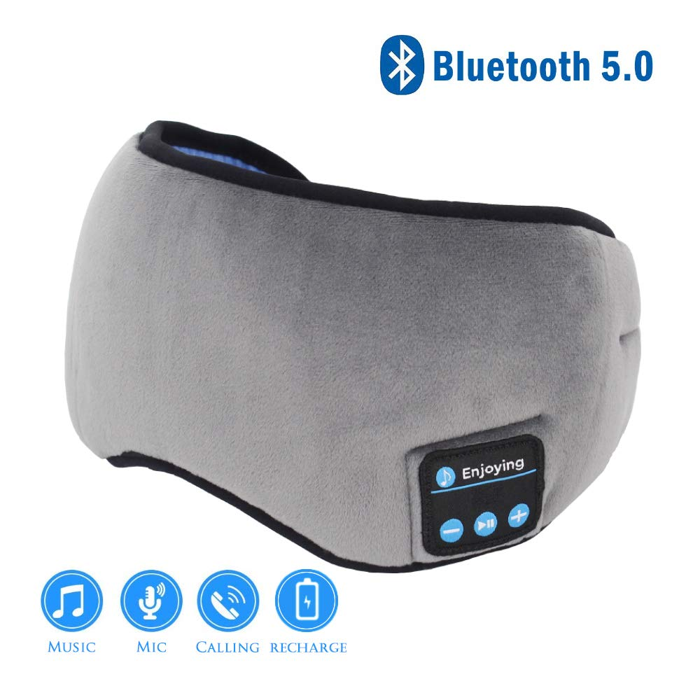 Sleep Headphones Bluetooth Eye Mask, Wireless Bluetooth 5.0 Eye Mask Headphones Sleeping Headsets for Sleeping Air Traveling Office Nap, Built-in Speakers (Gray)