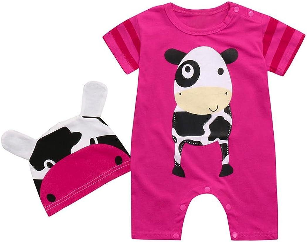 Efaster Baby Boy Girl Cartoon Animals Print Short Sleeve Romper+Print Hats Sets