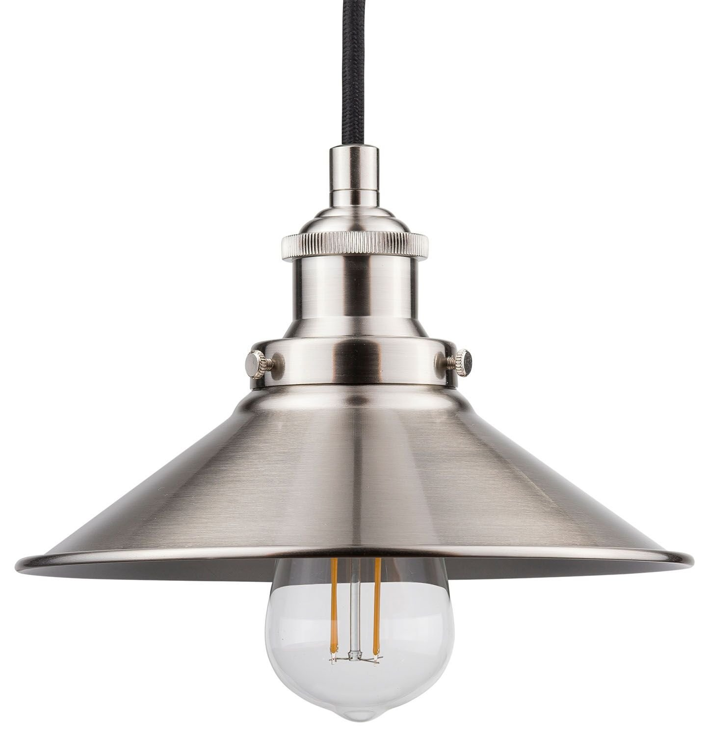Andante LED Industrial Kitchen Pendant Light – Brushed Nickel Hanging Fixture - Linea di Liara LL-P407-LED-BN