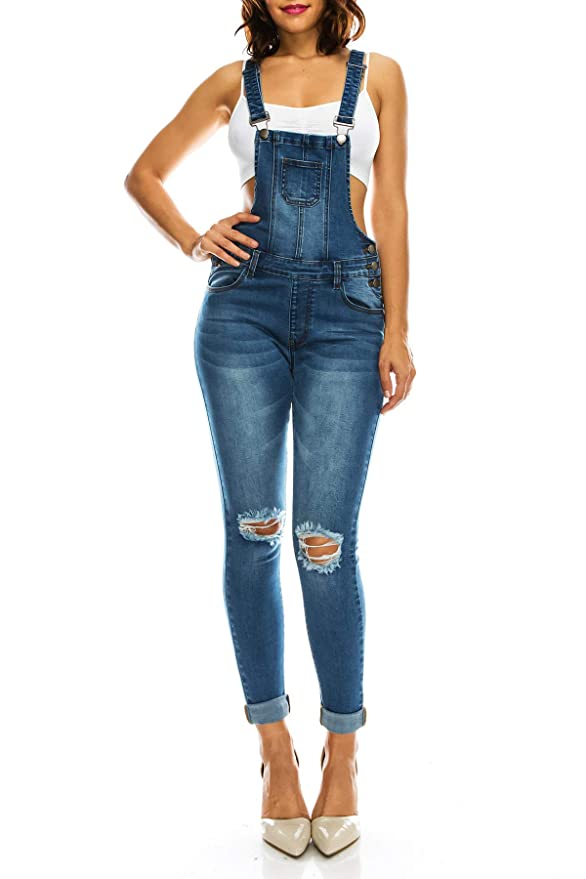 TwiinSisters Women's Distressed Stretch Twill Overalls Size Small to 3X Multi Styles (Small, Bluee #rjho915)