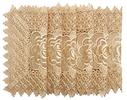 Simhomsen Golden Beige Doilies Square 12 Inch Set of 6 ( Same Design With Table Runner) Doily Runner