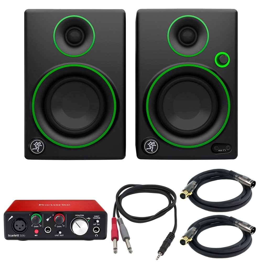 Mackie CR Series 3'' Creative Reference Multimedia Monitors (Pair) (CR3) with Focusrite Scarlett Solo USB Audio Interface, TRS Male to Two TS Male Cable & 2x Premier Series XLR Male to Female Cable