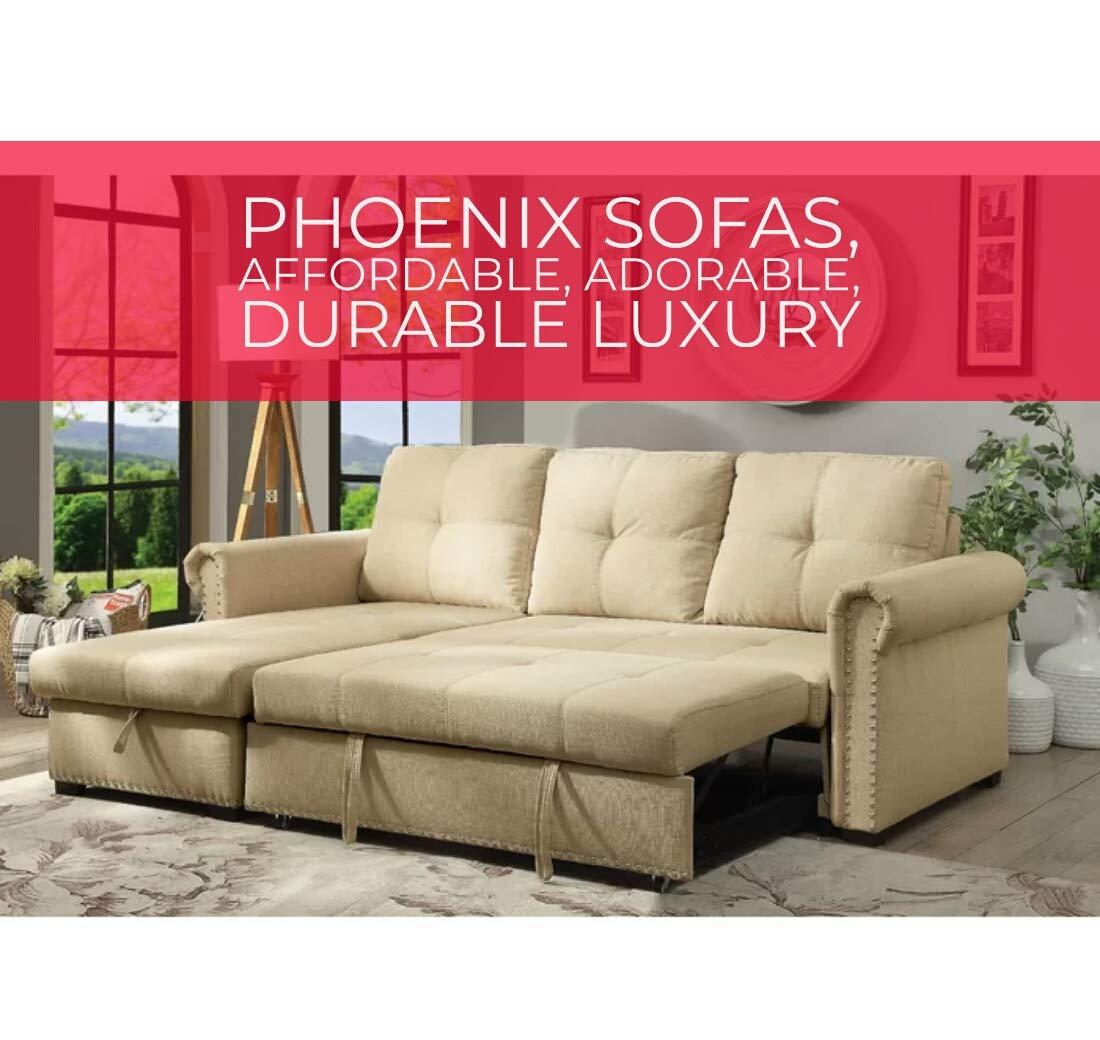 - Phoenix Sofas Scissors Sleeper Sofa Cum Bed With Storage (Suede