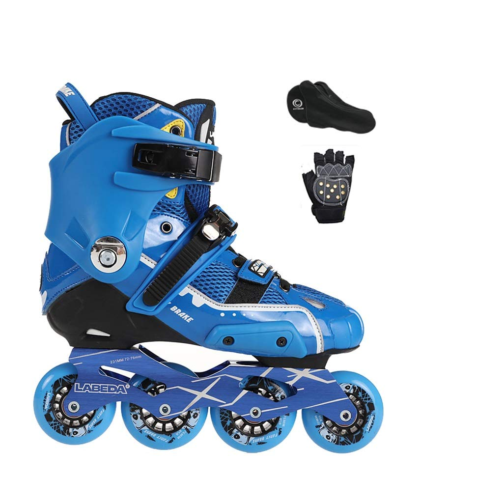YANGXIAOYU Inline Skates, One-Piece Design Inline Skates Set Blue Red Suitable for Men and Women Boys Girls (Color : Blue, Size : 37 EU/5 US/4 UK/23.5cm JP)