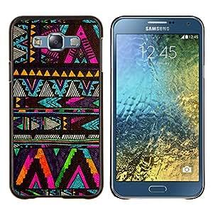 YiPhone /// Prima de resorte delgada de la cubierta del caso de Shell Armor - galón nativo patrón negro americano - Samsung Galaxy E7 E700