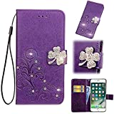 Find box for Motorola Moto G7 Case, [Flower Bling Embossing][Wallet Stand] [Flower Embossing] Protective Phone Bling Case Leather Protective Flip Wallet Case for Motorola Moto G7 Purple
