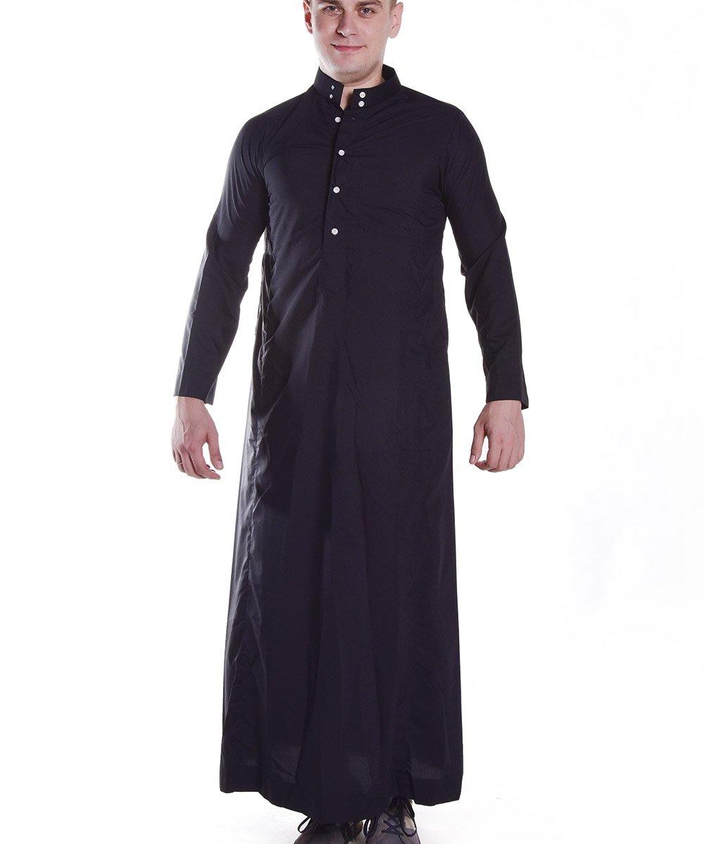 Men's Muslim Solid Black Business Saudi Arabic Thobe size XXL