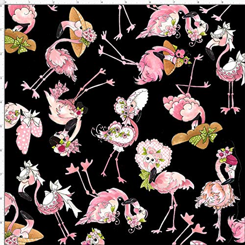 Loralie Flams Fabric Black Toss of Flamingos 100% Quilting Cotton by The Yard