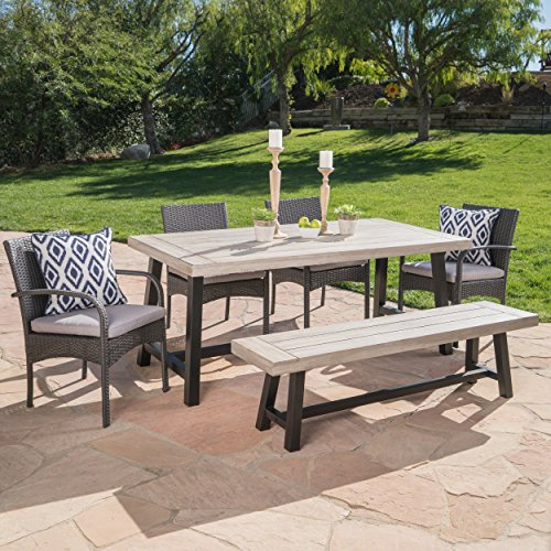 Great Deal Furniture Louise Outdoor 6 Piece Grey Wicker Dining Set with Light Grey Sandblast Finish Acacia Wood Table and Bench and Grey Water Resistant Cushions (Wood Furniture And Wicker)