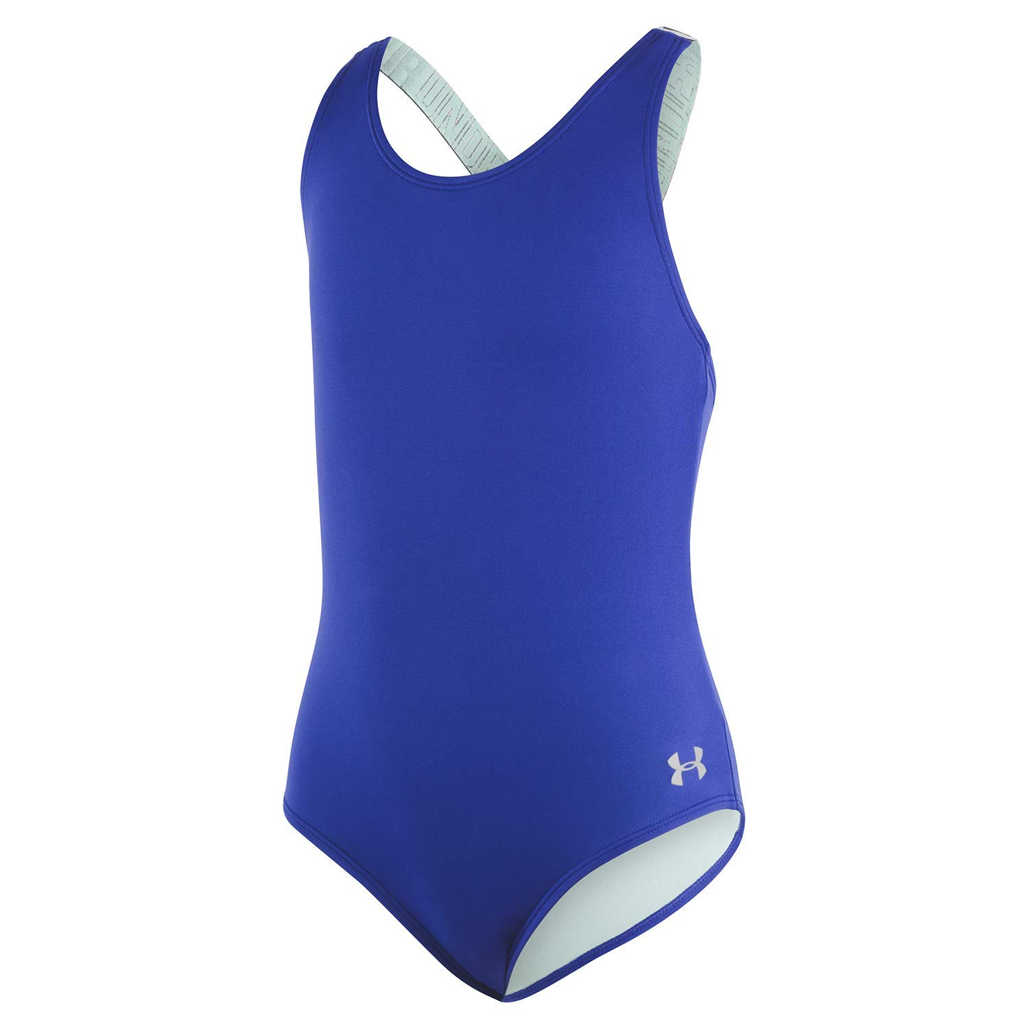 Under Armour Big Girls' Racer One Piece Swimsuit, Formation Blue-S19, 8