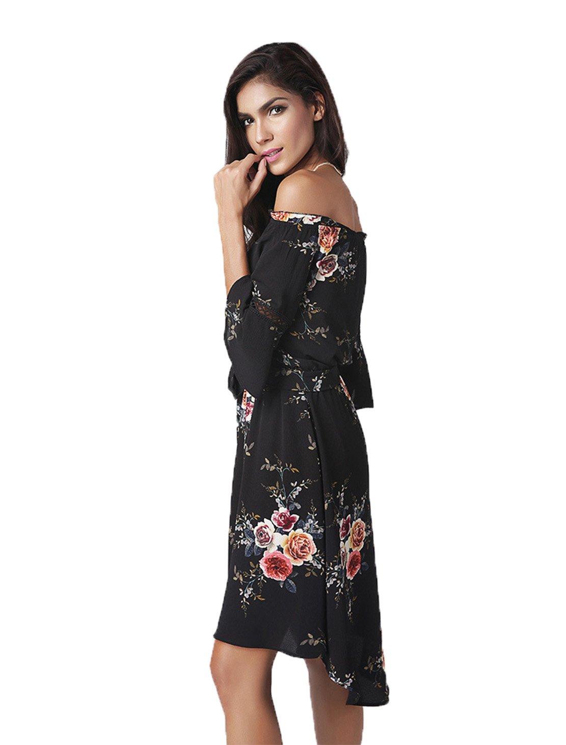 WXW Unregelmäßige Flaches Schulterkleid Schulterkleid Schulterkleid B073Q6MQZN Kleider Elegant 0eeaf5