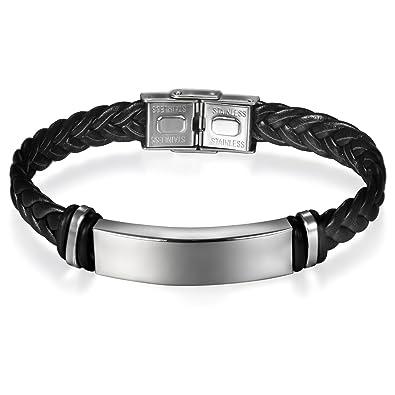 7ad997e75fb JewelryWe Bijoux Bracelet Homme Graver Personnaliser Classique Manchette  Tressé Fantaisie Cuir Acier Inoxydable Couleur Argent Noir ...