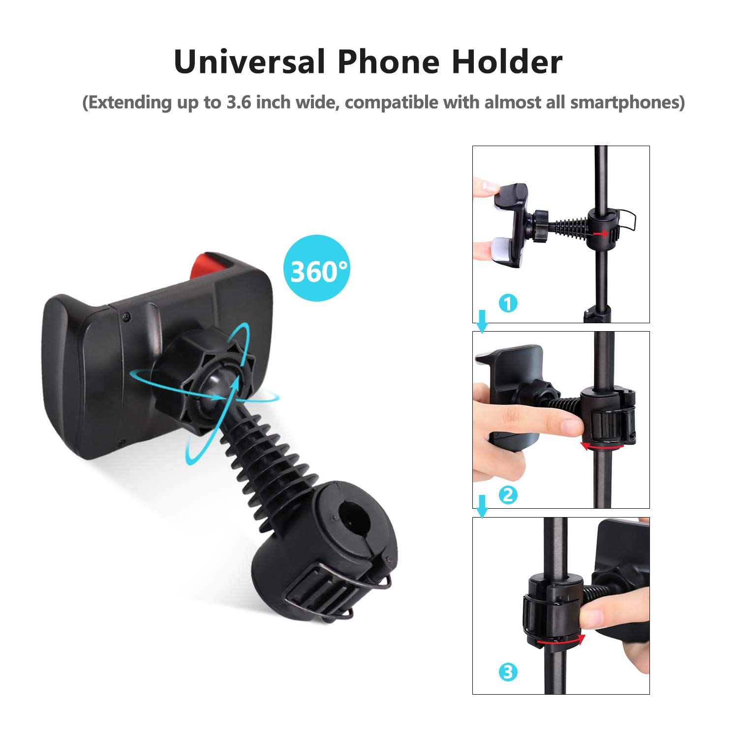 UBeesize 10.2'' Selfie Ring Light with Tripod Stand & Cell Phone Holder for Live Stream/Makeup, Mini Led Camera Ringlight for YouTube Video/Photography Compatible with iPhone Android (Upgraded) by UBeesize (Image #4)
