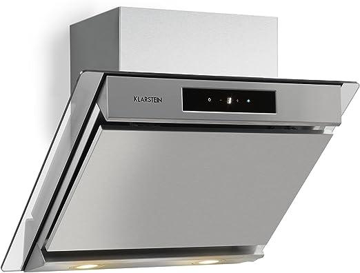 KLARSTEIN Balzac 60 Campana extractora de Humos - Capacidad de 610 m³/h, Montaje en Pared, Iluminación LED, Panel táctil, Temporizador, Regulable, 210 W, Acero Inoxidable, Plateado: Amazon.es: Hogar