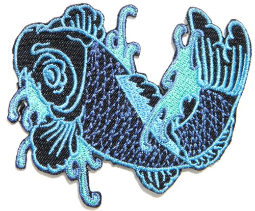 Japanese Koi Fish Lucky Animal Tatoo Biker Rider Jacket Vest Patch Sew Iron on Embroidered Badge Custom