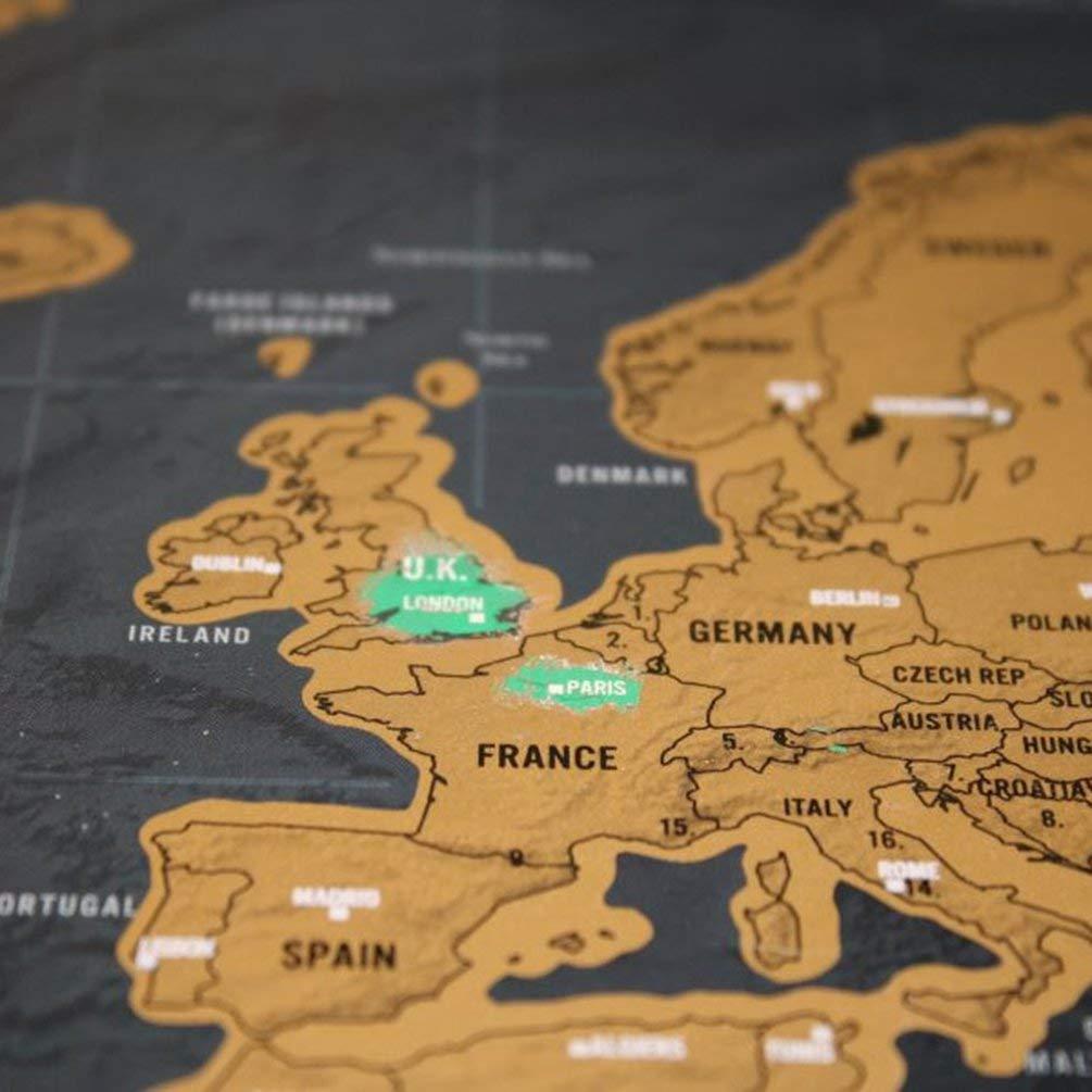 Oyamihin Gold Scratch Map Scratch Map Gr/ö/Ã/Ÿe Schwarz Gold Schwarz Luxury Edition Weltkarte Perfekt f/ür Reisende Karte Folienbeschichtung Farbe S