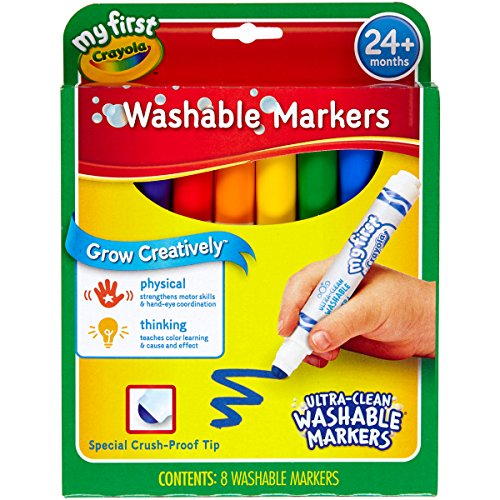 Crayola My First Ultra-Clean Washable Markers, 8 Classic Crayola Colors Non-Toxic Art Tools for Toddlers & Preschoolers 2 & Up, Crush Proof Tip Made for Little Hands, Worry-Free Fun