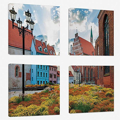 (4pcs/set Modern Painting Canvas Prints Wall Art For Home Decoration Victorian Decor Print On Canvas Giclee Artwork For Wall DecorOld City Riga Latvia Capital with Historical Buildings Medieval Town Im)