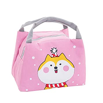 Oyachic Bolsa Termica Bolsas de Almuerzo Lunch Bag Linda Mascota Bolsas de Cremallera Bolsa de Tela Algodon Merienda Impermeable Portátil (perro)