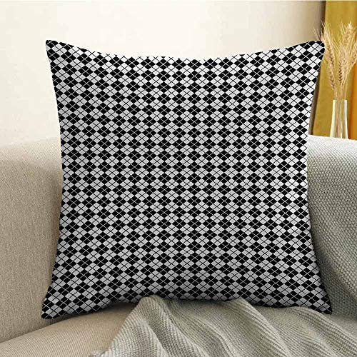 (FreeKite Silky Pillowcase Super Soft and Luxurious Pillowcase Modern Graphic Argyle Pattern in Black and White Repetitive Diamond Shape Stripes W20 x L20 Inch Black White)