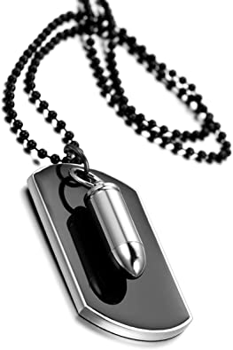 Bola Cadena 70CM COOLSTEELANDBEYOND Satinado Dos Piezas Militar Ej/ército Dog Tag Collar con Colgante de Hombre