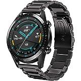 Kartice for Huewei Watch GT 2 46mm /Huewei Watch GT 46mm バンド 高品質ステンレスベルト 調整工具が付き Huewei Watch GT 2/Huawei Watch GT用(1-ブラック)